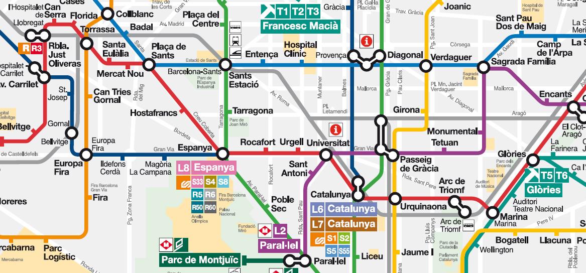 Mappa di barcellona da stampare metropolitana treni bus - Londra punti d interesse ...
